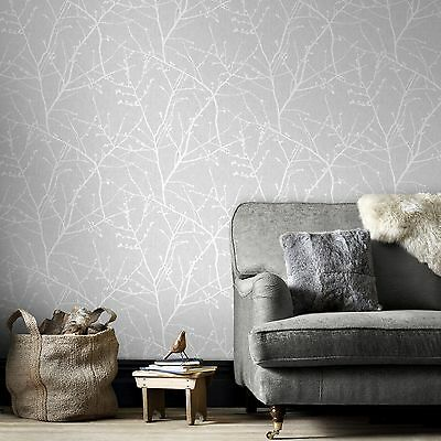 Superfresco Easy Paste the Wall Innocence Branch Grey Metallic Wallpaper