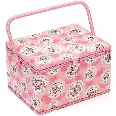LARGE Sewing Box - Fabric Sewing Basket with Handle & Tray Pink Cameo Floral