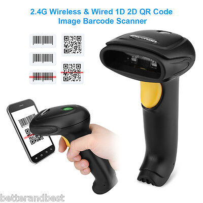 Wireless USB 1D 2D QR Image Barcode Scanner Scanning POS Bar Code Reader Black