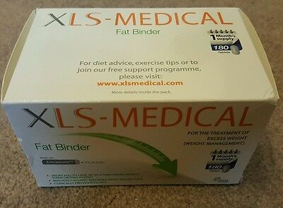 Xls Medical Fat Binder 180 Tablets Brand New/boxed One Months Supply