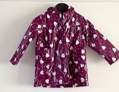 Little Girls Coat - Age 3 - 4 Years - Purple With Hearts