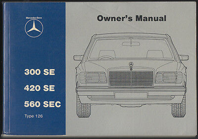 Mercedes Benz W126 Owners Manual 126 300Se 420 Se 560 Sec Handbook South Africa