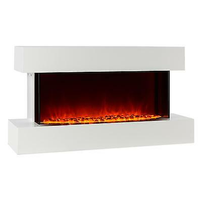 Klarstein Electric Fire Place Indoor Heating Flame Fan Living Room Wood White