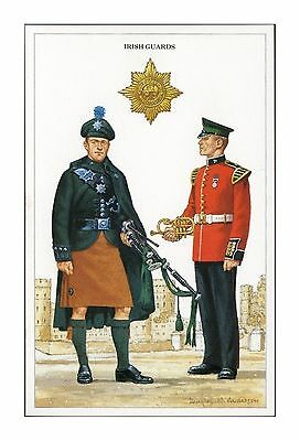 IRISH GUARDS - PIPER and MUSICIAN - QUEENS GUARDS BRITISH ARMY UNIFORM POSTCARD