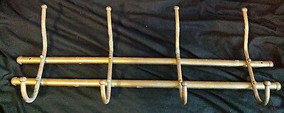 Large Industrial Style Brass Wall Mounted Coat Hat Rack Hanger Vintage Metal