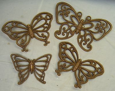 Vintage Homco / Home Interiors Brown Syroco Set Of 4 Butterflies