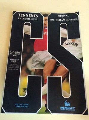 1991 Charity Shield Programme - ARSENAL v TOTTENHAM HOTSPUR Spurs 10 August 1991