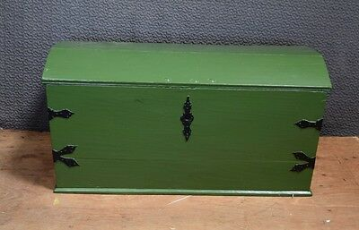 Danish Oak Dome Top Trunk, Painted Green, Large 19thC