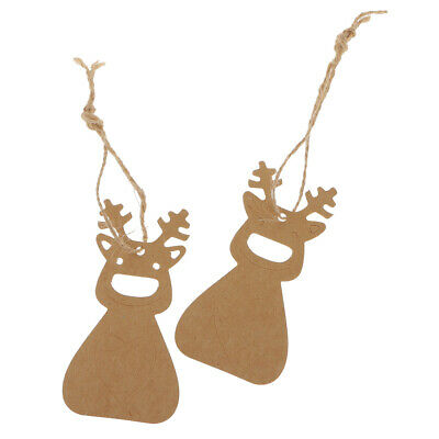 100/50Pcs Kraft Paper Christmas Tree Gift Parcel Tags Label Luggage + Strings