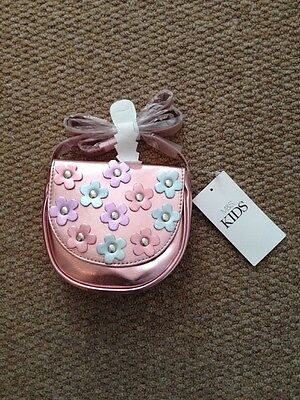 M&S Girls Handbag In Shiny Pale Pink With Shiny Flowers
