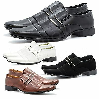 New Mens Italian Style Formal Wedding Slip On Shoes Smart Office UK Sizes 6-11