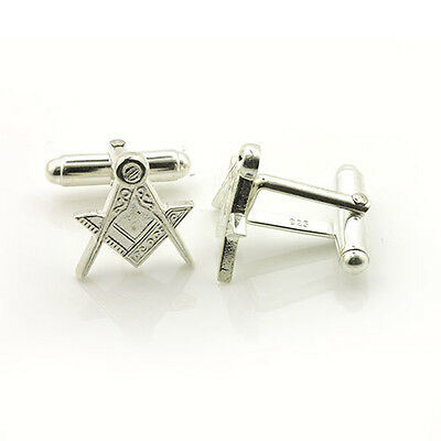 Silver Plated Masonic Cufflinks Depicting the Square & Compass Symbols