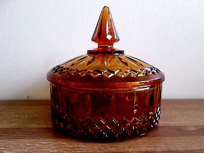 Vintage Amber Glass Candy Dish With Cover/lid