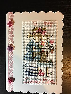 Cross Stitched Card. Mothers Day/Birthday