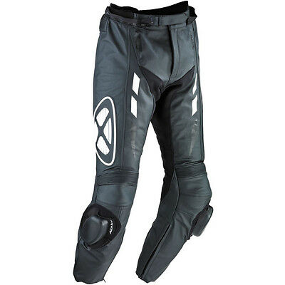 Ixon Addict Black White Leather CE Armour Sports Racing Motorcycle Pants
