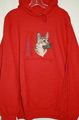 German Shepherd Head Embroidered On a 3XL Red Hooded Sweatshirt