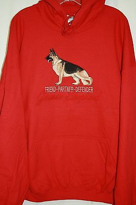 German Shepherd Embroidered On a 3XL Red Hooded Sweatshirt