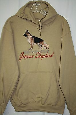 German Shepherd Embroidered On a Small Tan Hooded Sweatshirt