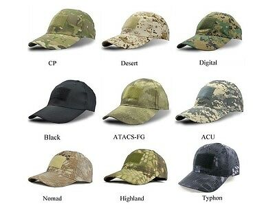 Military tactical camouflage cap velcro patch airsoft camo shooting hunting