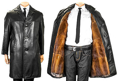 48 Herren Ledermantel Leder Pelzfutter Bisam muskrat fur lining leather coat men