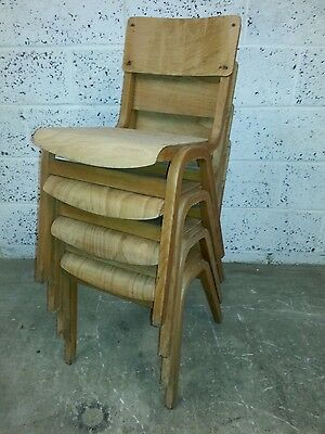 Vintage School Chairs- Set of 4, Adult Size.(B)