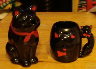Black Cat Creamer & Cup VTG (red clay pottery)