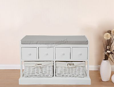 FoxHunter Wooden Storage Bench Seat with 2 Wicker Basket Cabinet 4 Drawers White