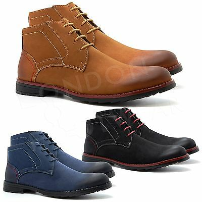 New Mens Casual Formal Chukka Desert Ankle Lace Up Leather Boots Shoes Size 6-11