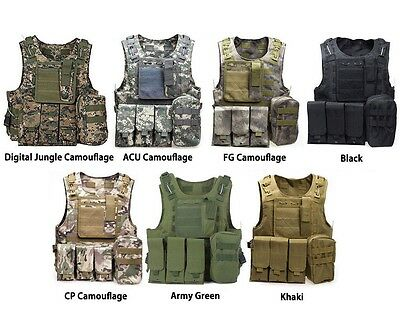 Military Camouflage Tactical Vest Airsoft Ammo Chest Rig Magazine Carrier ACU