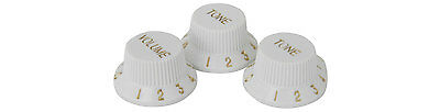 Set of 3 Control Knobs for Stratocaster Style Electric Guitar