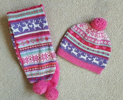 Girls New Accessorize Angels Christmas Hat & Scarf One Size 3y+ Reindeer Sparkle