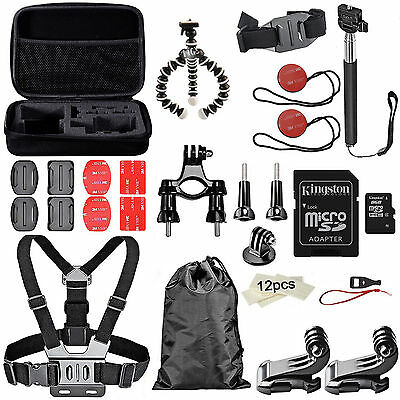 Essential Accessories Kit For GoPro Hero5 Hero 5 4 3+ 3 Black Silver Memory Card