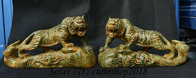 """11.2"""" China Old Jade Carved Fengshui Zodiac Year Strong Tiger Lucky Statue Pair"""