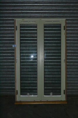 Brand New French Door Set Complete With Frame 1190mm x 1940mm Green On White