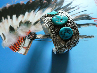 heavy silver native american indian bangle turquoise signed F Sterling Navajo