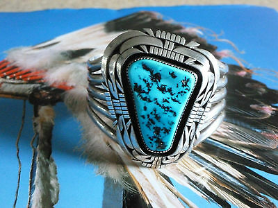 heavy silver native american indian bangle turquoise Tom Lewis sterling Navajo