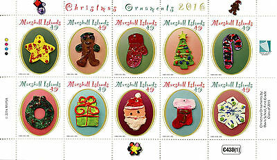 Marshall Islands 2016 MNH Christmas Ornaments 10v M/S Christmas Tree Stamps