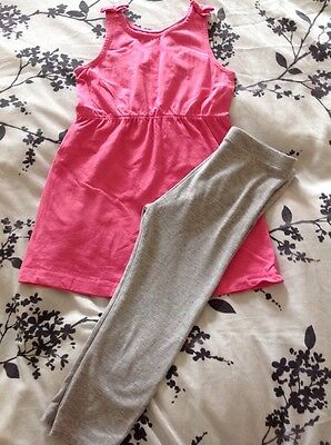 Girls Pink Top With Grey Leggings Age 7-8