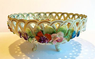 Carl Thieme Dresden Heavily Reticulated Handpt Footed Bowl With Applied Flowerss