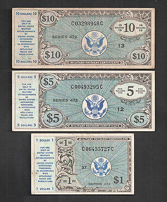 Series 472 $1, $5 And $10 Military Payment Certificates Fine - Very Fine