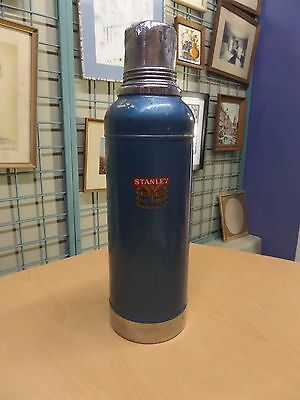 Vintage Stanley Super Vac Hot and Cold Blue Thermos w/Cork & Cup Cap Dated 6-51