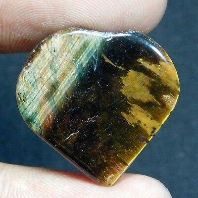 3.1Cts Genuine  Natural YELLOW TIGER EYE HEART 23X23 Cabochon