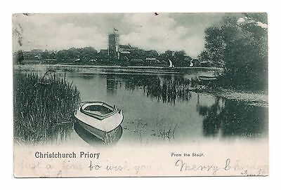 Christchurch Priory From The Stour Worcestershire Edward Vii Stamp Posted 1902