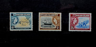 PITCAIRN: Three high value pictorials 1957, LM/mint cat. £30+ (PIT 8)