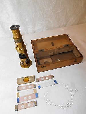 Antique 19th Century Monocular Microscope & Glass Slides In Wooden Case