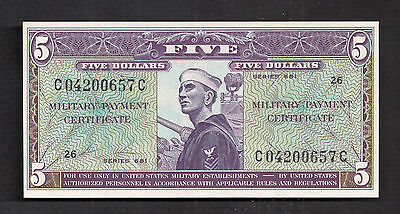 Series 681 $5 Military Payment Certificate About Uncirculated