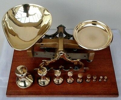 Vintage Original Brass Balance Scales Complete with Weights by C Stevens, London