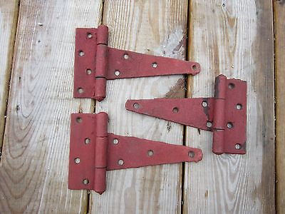 "Set of 3 Vtg 8"" Barn Door T-Strap Hinges Architectural Hardware Painted Patina"