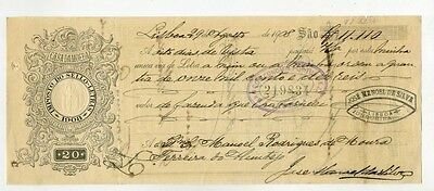 Portugal.Bank cheque receipt.Bank emperial.1908.