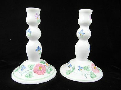 """Herend Villiage Pottery - Pair 8"""" Tall Candleholders - Hand Painted"""